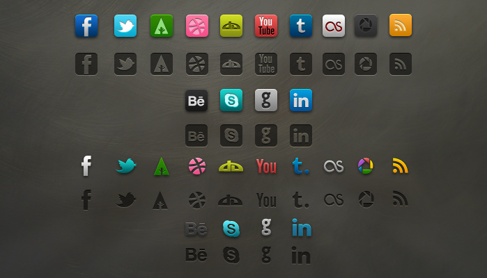 Набор иконок социальных сетей скачать