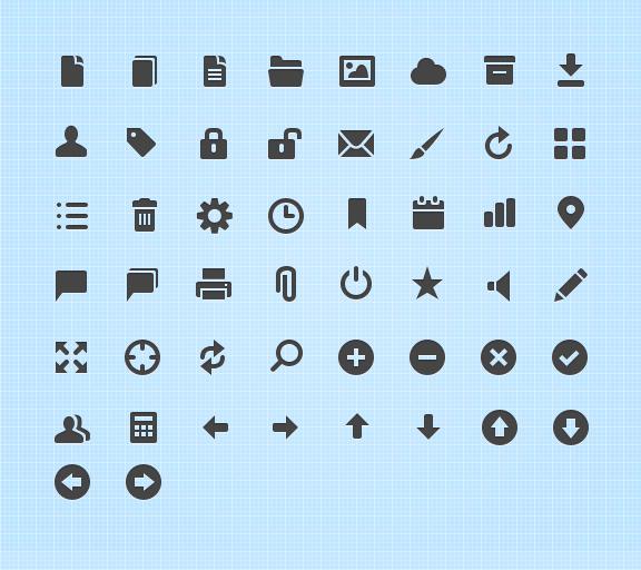 50 иконок web-интерфейса черные