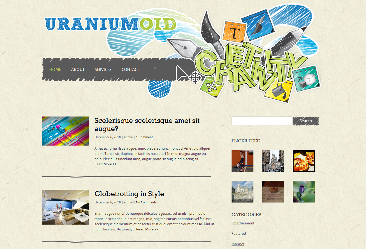 Тема для WordPress - Uraniumoid