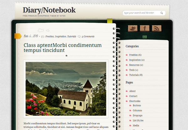 Тема для WordPress – Diary/Notebook