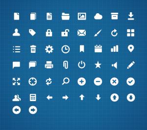 50 иконок web-интерфейса белые
