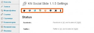 KN Social Slide Основная страница настройки плагина