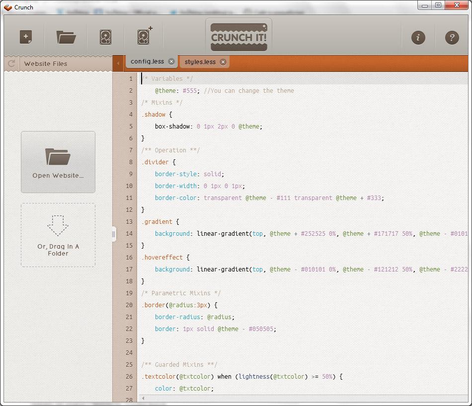 Текстовый редактор LESS -  Crunch