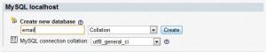 Создаем базу данных email
