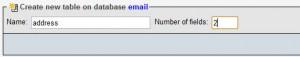 Создание таблицы address