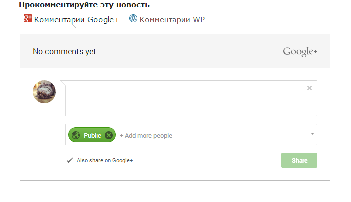 Плагин Google+ Comments for WordPress результат